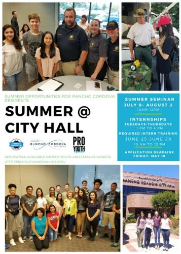 Flyer for Rancho Cordova Summer at City Hall